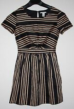 Black and Tan Stripe Dress S/S Forever 21 I Love H81 Size S Small A Line Dress
