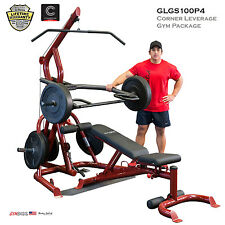 2016 NEW Body Solid GLGS100P4 Plate Loaded Leverage Gym + Bench GFID100