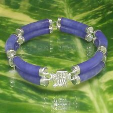 .925 Silver Bracelet Featuring Six 5x24mm Curved Double Tube Lavender Jade