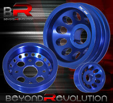 FIT 02-06 350Z FAIRLADY Z 350GT RACING UPGRADE DRIVE CRANK PULLEY WHEEL SET BLUE