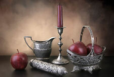 Framed Print - Still Life Silver Candlestick Jug Bowl Red Apples (Picture Poster