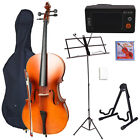 New Full Size 4/4 Matt Wood Color Cello with Everything You Need