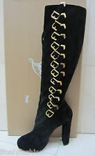 NIB CHRISTIAN LOUBOUTIN LADY TROOP 120 BLACK SUEDE GOLD BELT KNEE BOOTS SHOES 39