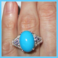 Sleeping Beauty Turquoise TGW 4.55 cts Tanzanite Ring Sterling Silver 925 sz 10