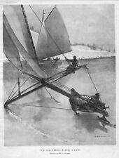 ICE YACHTING SAILING ON THE SMOOTH CLEAR ICE WINTER SPORTS AND RECREATION ICE
