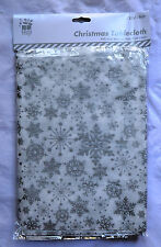 Christmas Table Cloth Wipe Clean Xmas Snowflake Red Silver Gold Cover PVC