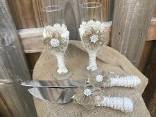 Burlap Lace Cake Knife & Server Set-Toasting Flutes Rustic Country Wedding Pearl