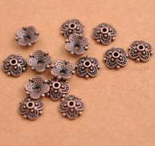 100PCS Flower Bead Caps Floral Spacer Beads 8MM Tibetan Silver Alloy SH3113