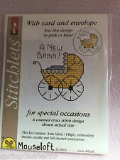 MOUSELOFT STITCHLETS CROSS STITCH KIT ~ A NEW BABY ~ CARD & ENVELOPE ~ NEW