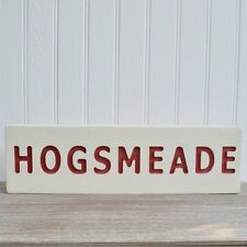 Hogsmeade Train Station Sign Harry Potter Hogwarts Wall Plaque White & Red