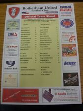 11/08/2001 Colour Teamsheet: Rotherham United v Crystal Palace [Police Advert On