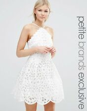 Chi Chi London Petite High Neck Cutwork Mini Prom Dress White UK 8/EU 36/US 4