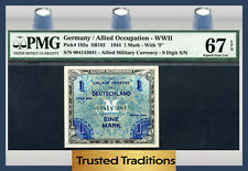 TT PK 192a GERMANY ALLIED MILITARY CURRENCY 1 MARK PMG 67 EPQ SUPERB NONE FINER!