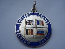 1914 WW1 ENGLAND FRANCE BELGIUM RUSSIA SILVER&ENAMEL PENDANT