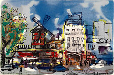 Lithographie French Lithography Vue de Paris Le Moulin Rouge Pigalle Aquarelle