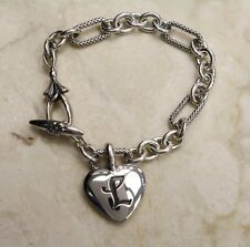 "ANN KING STERLING SILVER / 18K QUINCE INITIAL L HEART 7-1/4""L BRACELET QVC"