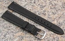 18mm Stylecraft BLACK Waterproof Leather Watch Band NOS Strap Made in CANADA 410