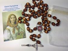 Saint Dymphna brown relic rosary mental disorders neurological disorders victims