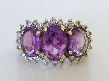 Beautiful 9ct Gold Amethyst & 0.25ct Diamond Ring Size K