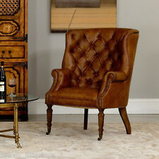 Leather Chair Tufted Wing Back Brown Hardwood Frame Handmade Castors Ships free