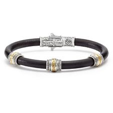 Konstantino Unique Design Leather Bracelet with Sterling Silver & Bronze