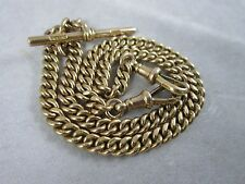 Edwardian 9ct Yellow Gold Double Albert Curb link Watch Chain 45.6g