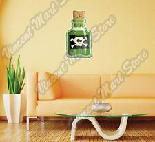 """Bottle Poison Venom Skull Crossbones Wall Sticker Room Interior Decor 16""""X25"""""""