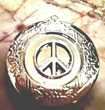 "PEACE PHOTO LOCKET Pendant Silver P on 18"" Sterling Chain Necklace, HIPPIE Boho"