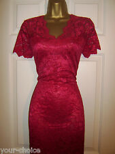 FAB RASPBERRY RED LACE EVENING PARTY DRESS SIZE 14 16 NEW