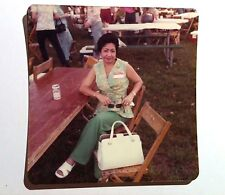 Vintage 70s Photo Cute Asian Woman In Green Vest Sandals Drinking Beer At Picnic