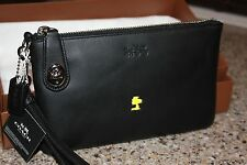 NWT COACH X Peanuts Turnlock Folio Clutch & Hangtag Black Limited Ed.