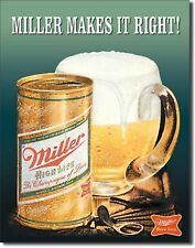 Miller High Life Beer Makes It Right!  Metal Sign Tin New Vintage Style #1017