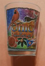 Ohio - The Heart of it All - State Bird, Flower and Flag - Shot Glass New