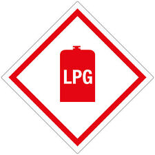 LPG 100mm diamond HazChem Self-adhesive vinyl Safety sticker caravan motorhome