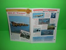 """MIKOYAN- GUREVICH MIG-21 """"FISHBED"""" AIRCRAFT FACTS CARD AIRPLANE BOOK 143"""