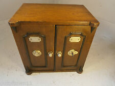 Antique Tiger  Oak Desktop Safe Box Cabinet , Cigar Humidor