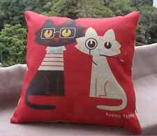 NEW LINEN COTTON NATURAL RUSTIC COOL CAT KITTEN SMOKING CUSHION COVER HOME GIFT