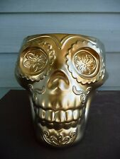 FABULOUS DAY OF THE DEAD SUGAR SKULL GOLDEN CANDY BOWL/VASE GREAT FOR HALLOWEEN