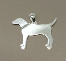 Solid 925 Sterling Silver Dog Pendant with Satin finish and CZ collar NO Chain