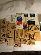 Huge lot of stampin' up stamps 24 new & used crafts embossing rubber stamps SCHO
