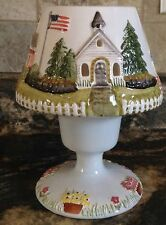 CHARMING 2 PC COUNTRY BUILDINGS VOTIVE CANDLE LAMP SCHOOL IBRARY CHURCH FLOWERS