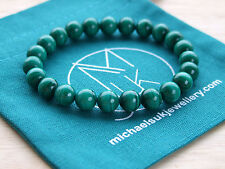 Genuine Malachite Natural Gemstone Bracelet 7-8'' Elasticated Healing Stone