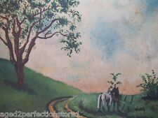 Pair of Horses 1950 Oil On Canvas Painting Countryside Scene sgnd Phil Nathanson