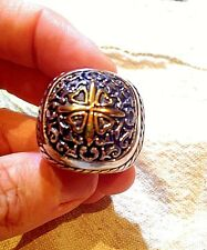 Vintage Large Stainless Steel Gold Silver Cross Crest Size 11 Men's Ring