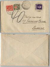 50c IMPERIALE(251)-Lettera Cremolino- Lugano 25.1.1940 tassata in arrivo 40c