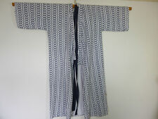 vintage dark navy lined printed cotton kimono gown/robe & belt  M