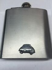 BMW Isetta ref27 Pewter Effect Car on a 6oz Stainless Steel Hip Flask