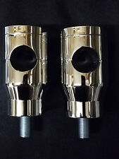 "2"" CHROMED CUSTOM SPRINGER RISERS HD HARLEY DNA PAUGHCO ULTIMA HIDDEN TOP BOLTS"