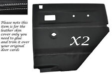 WHITE STITCH 2X REAR DOOR CARDS LEATHER COVERS FITS LAND ROVER DEFENDER 90 110