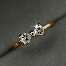 Fashion Gold Plated Finger Ring Bow Tie Wedding engagement Zircon Ring